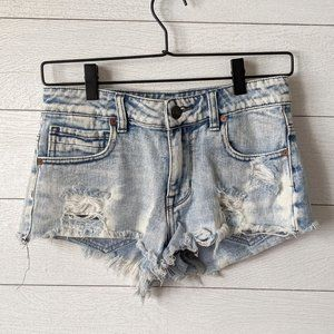 Kendall & Kylie Distressed Acid Washed Jean Shorts